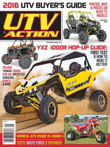 ONTHECOVER:  Yamaha's spectacular YXZ1000R slings some Imperial Dunes sand, the Can-Am Maverick 1000X mr awaits a mud bath, and the all-new RZR XP Turbo in Spectra Orange turns heads, while TPC Trikes' converted TRX450R anticipates fun, fast times. Photos by Adam Campbell Photography, Can-Am, Polaris and TPC Trikes.