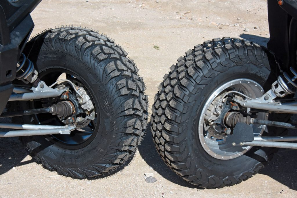 The ITPs are a little taller with a more rounded profile than the flatter, more knobby-like BFGs. Both tires have a very sticky rubber compound for traction, yet both proved to be extremely durable with long-lasting tread.