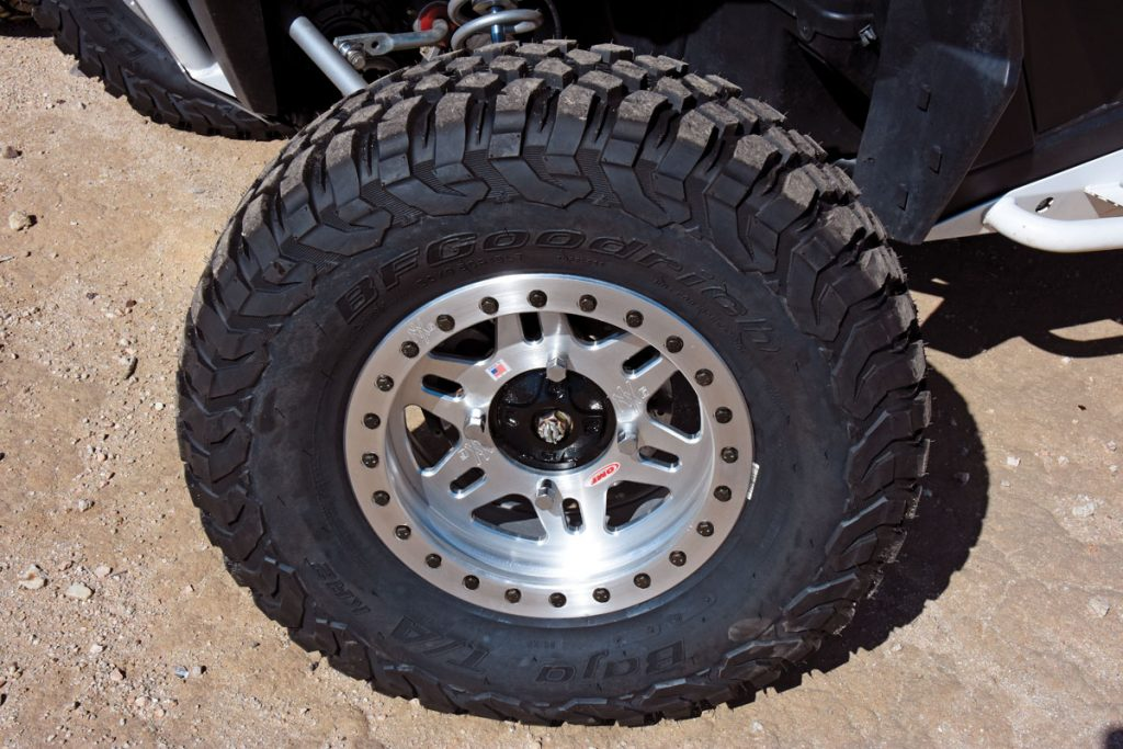 Four 30x10R15 Baja KR2 T/As were mounted on OMF NXG1 beadlock wheels as requested by BFG. At almost $640 per tire and wheel, this combination is the pinnacle of performance for hard-core racers, but the added benefit of using BFG pit support at SCORE and BITD races is invaluable.