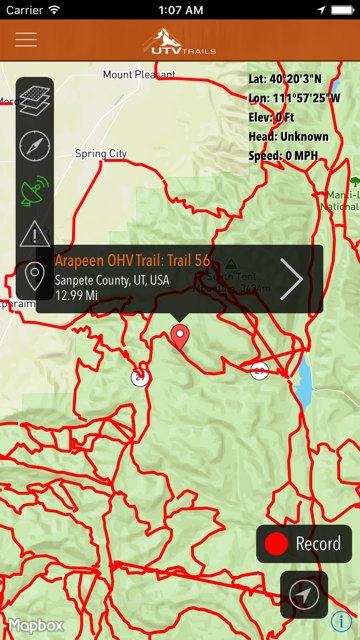 UTV Trail Map App just released Share your routes on your rides