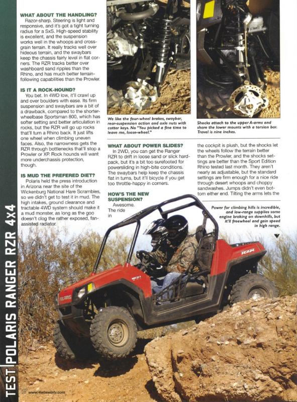 THE FIRST RZR   UTV Action Magazine