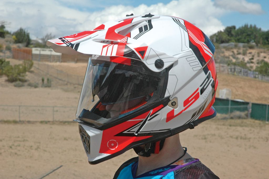 The LS2 Pioneer provides great visibility and more peripheral vision than a conventional off-road helmet with goggles. A retractable sun shield behind the clear face shield kept us ready for bright sun and lowlight conditions.