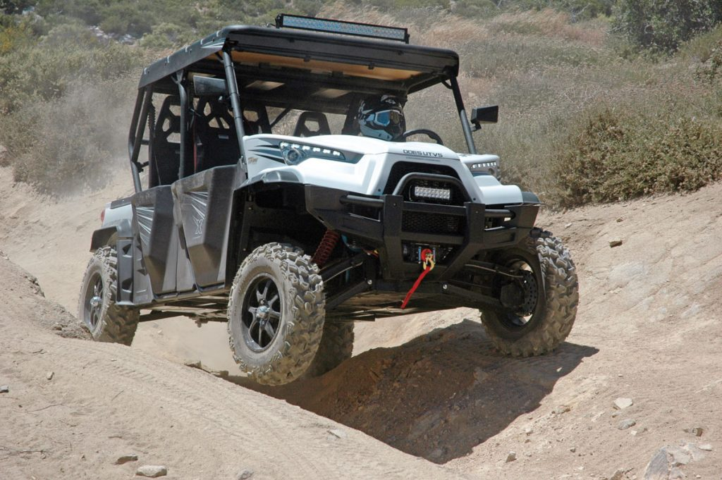 Long-travel suspension and plenty of ground clearance give the Dominator a smooth, unobstructed ride on rough, rutted trails.