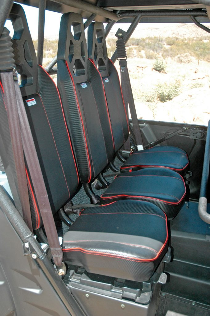 The Dominator X4's seats are stylish and comfortable, and the three back seats are as comfortable as the fronts.