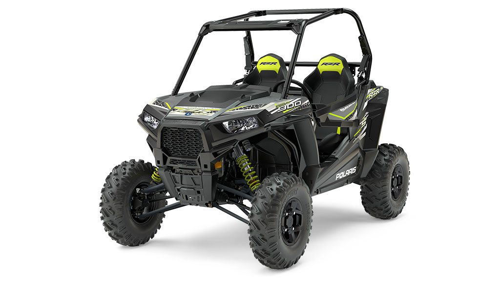 New mid-year 60-inch RZR 900s include the RZR S 900 EPS Titanium Metallic (shown) and RZR 4 900 EPS Ti Metallic.