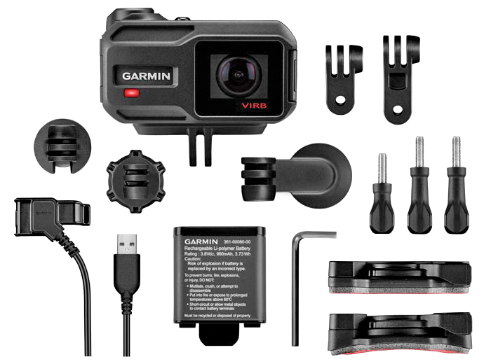 Here's what you get in the $399.99 Garmin VIRB XE box: the lower left shows two ends of the charge/data cable, and the prongs on the VIRB case are GoPro compatible. GoPro users should get the VIRB screws and Allen wrench for tighter mounting. We also like the adhesive mounts for 360-degree rotation.