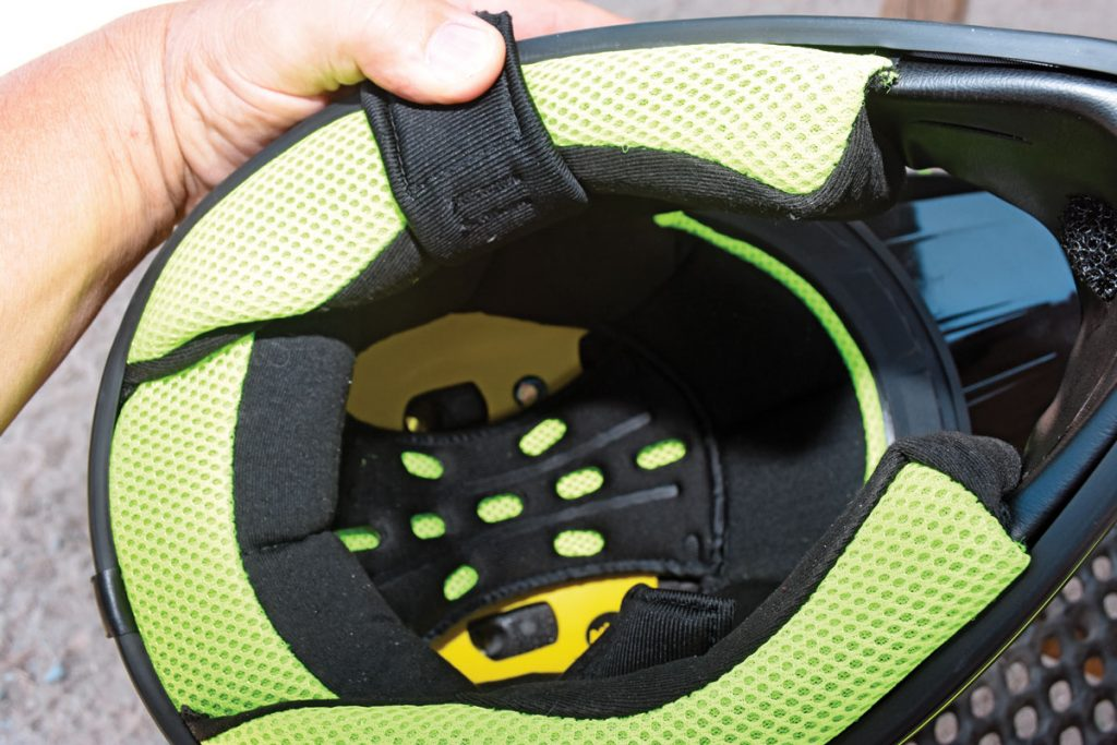 The Multi-directional Impact Protection System is basically a plastic skull cap (bright yellow) that attaches to the dual-density EPS foam with four elastomers that allow up to 15mm of rotation in any direction to spread out impact forces.