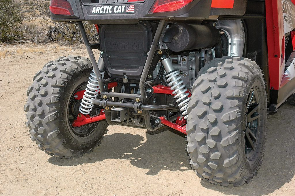 Double-Aarm rear suspension with 10.5 inches of travel works well for trail speeds.