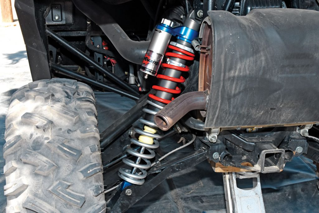 While Velocity-series shocks for RZRs have high- and low-speed compression adjusters, these WER General shocks have a single compression adjustment with 16 positions and a large adjuster knob. The Velocity costs $900 each, while the General needle shocks are going to be around $577 (2.0) to $677.93 (2.5) each.