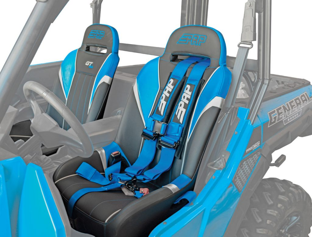 PRP makes GT/SE and XC suspension seats for the General for $425 each. GT/SEs have 7 inches of containment pocket for a more secure, comfortable ride, while XCs have less bolster for a more open feel. Upgraded suspension and suspension seats give the General a limo-like ride.