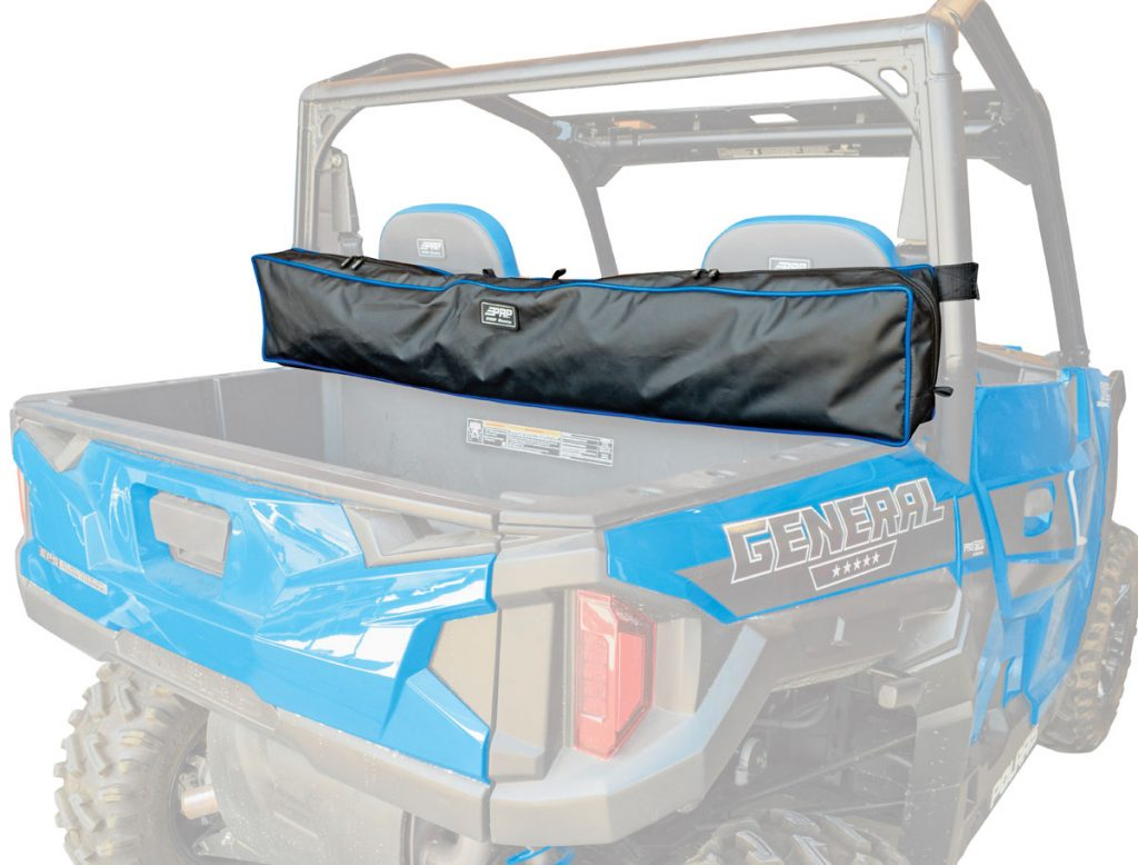 Our General has PRP's rear double bag ($85), but PRP has since built this full-length utility storage bag for jackets and other light cargo for $79.