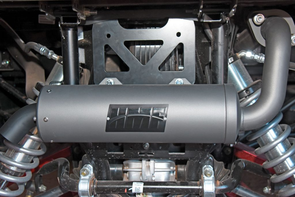 HMF Racing has a slip-on Titan-series exhaust for the General and RZR 1000 that weighs 17 pounds and boosts midrange performance. It's $399.95, while the full-system, dual-canister Performance exhaust is $894.95.
