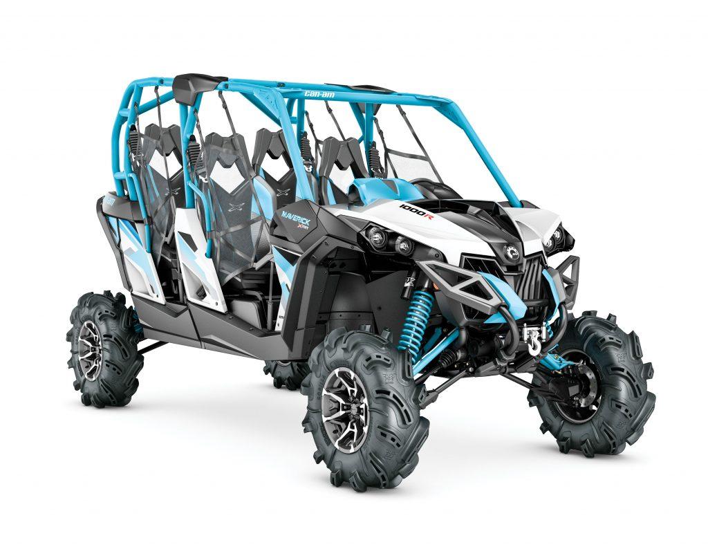 UTVBG31_2017-Maverick-MAX-X-mr-1000R-Hyper-Silver,-Black-and-Octane-Blue_3-4-front