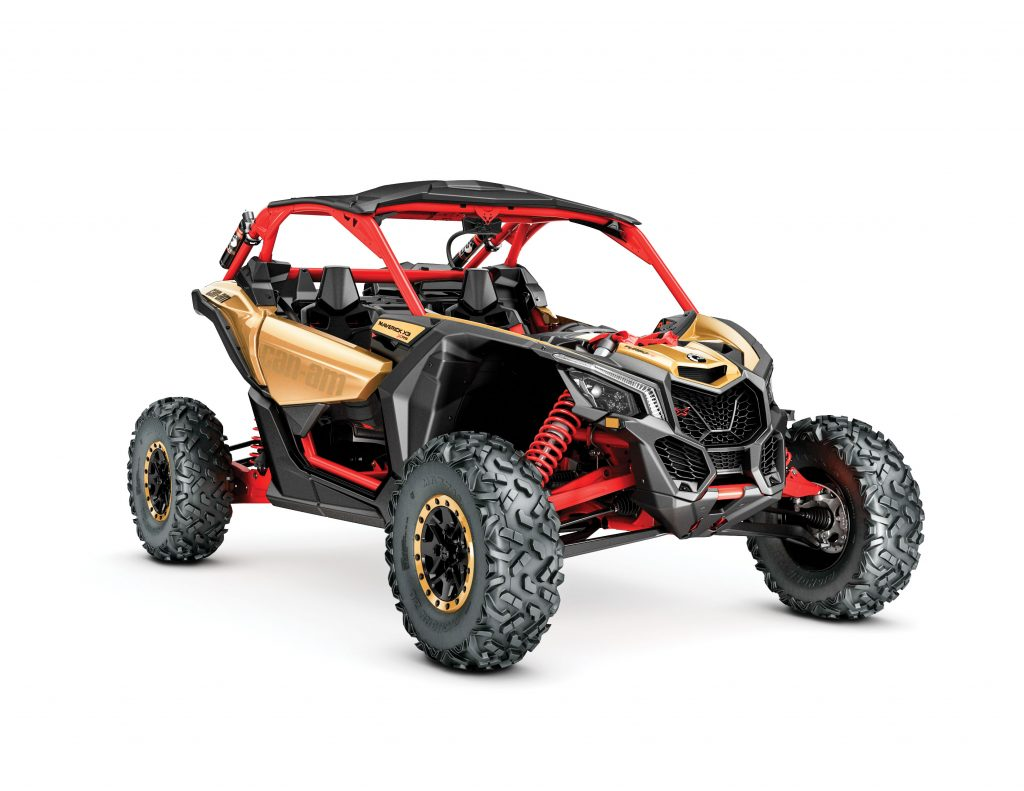UTVBG7_2017-Maverick-X3-X-rs-TURBO-R-Gold-and-Can-Am-Red_3-4-front