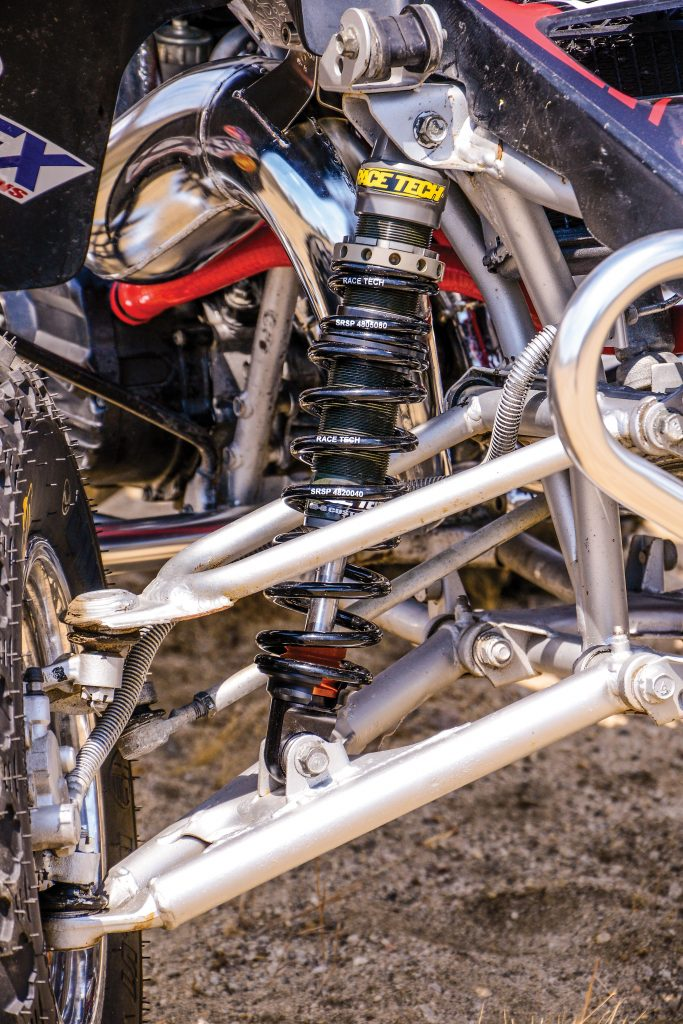 Stock Banshee suspension is harsh. Race Tech's G3-S shocks and the expertly rebuilt and -valved rear shock eliminated the Banshee kick we didn't care for.