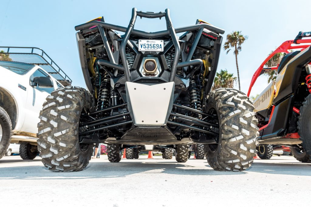 Piggyback reservoir Fox 2.5 shocks control the trailing-arm rear suspension's 20 inches of travel.