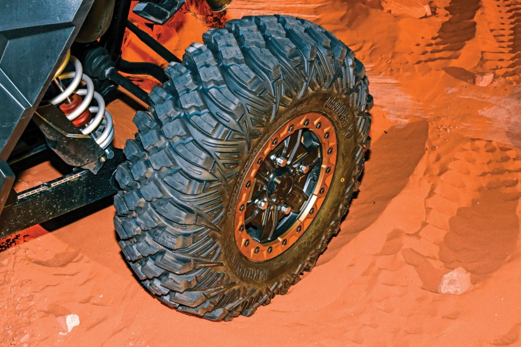 Siped lugs offer more traction-grabbing edges, and stepped side-tread and between-knob ridges increase side bite while also giving more sidewall protection for the eight-ply radial.
