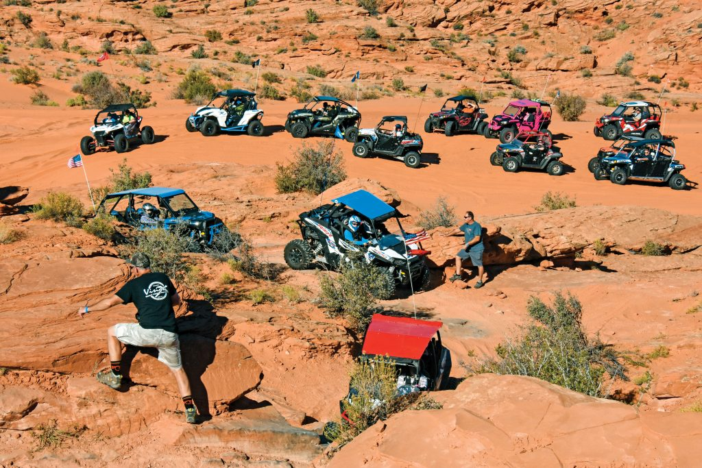 The SxS Adventure Rally is a three-day jamboree with daily guided and demo rides in Utah's Sand Hollow State Park. Guided rides are rated for difficulty, with Double Sammy being one of the more challenging rock-crawler routes.