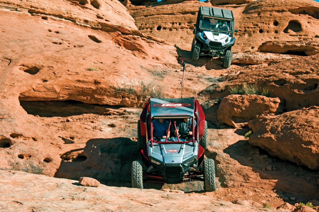 The Maze is one of the tougher and most scenic trails, and there are bypass routes around the toughest obstacles. Difficult trails were reserved for 64-plus-inch UTVs, and we had to winch on our Maze ride.