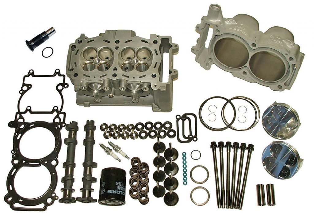 Weller Racing's Stage 5 big-bore kit includes two 95mm forged piston kits with three compression choices (9.5:1 Turbo, 11:1 91 octane pump and 12:1 race gas), CNC-ported heads, +1mm valves, Weller Racing profiled cams, bored and plated cylinders, head studs, valve-bucket kit with shims, dual valve springs with Ti retainers, oil filter, spark plugs and top-end gasket/seal kit.