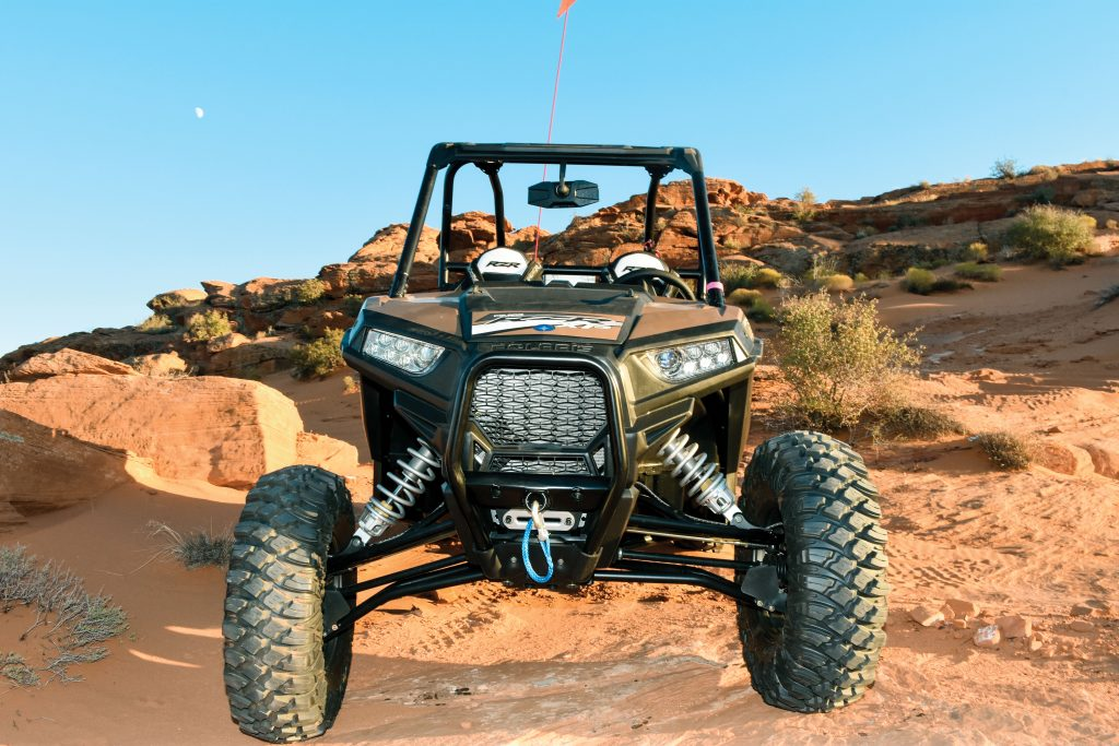 High Lifter and Gold Matte Metallic Limited Editions get high-clearance lower front A-arms, a bull front bumper with winch hook, and a 4500-pound winch with synthetic rope. Six LED headlights are bright enough for night rides.