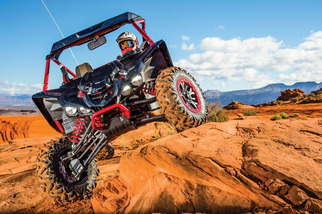 The manual-clutch YXZ1000R SE is happiest at speed but will cruise at slow speeds. Serious rock crawlers will want the new GYT-R Torque-Assist gear kit and Rekluse EXP clutch options. Front travel is 16.2 inches.