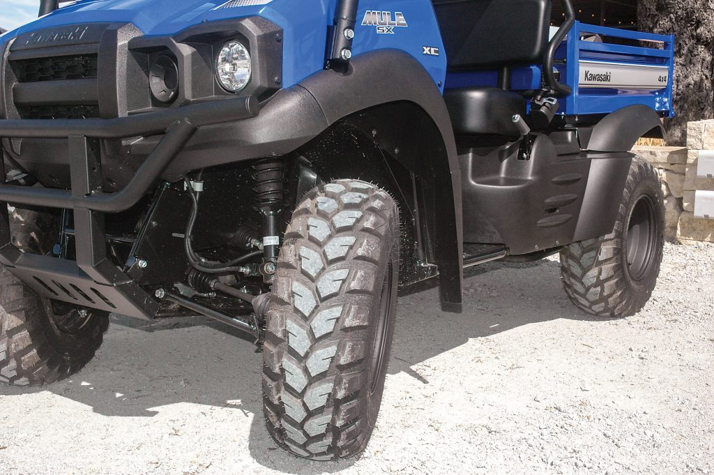 MacPherson-strut front suspension provides a comfortable ride at relaxed speeds even in rugged terrain, but its 3.1 inches of travel isn't enough for a fast pace in rough-going.