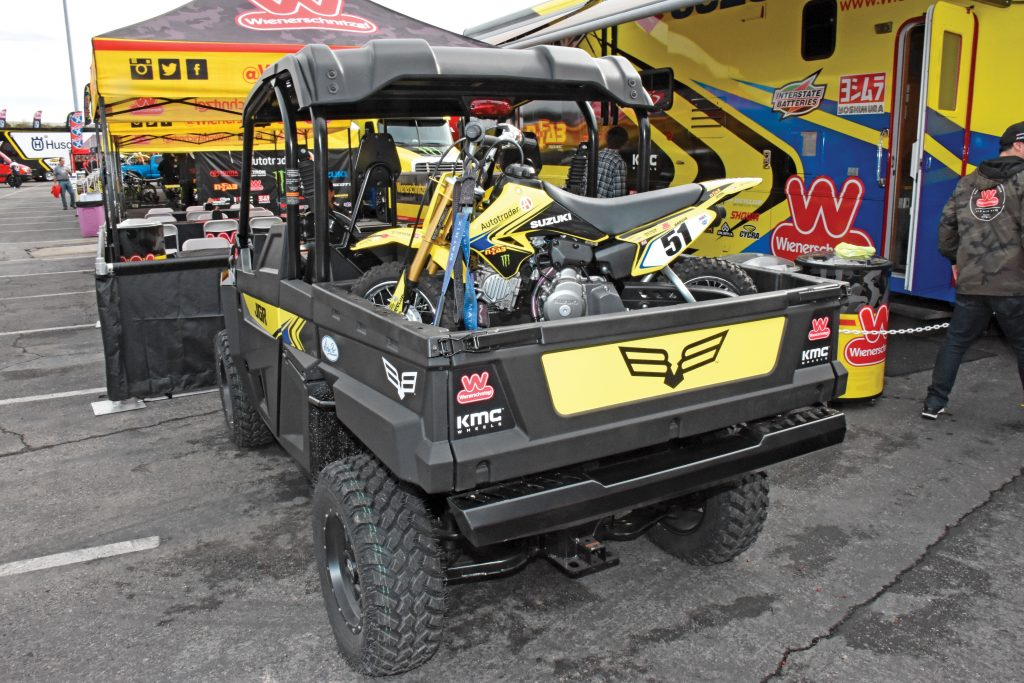 """Bam Bam's Bad Boy: Joe Gibbs Racing MX switches to Suzukis and Bad Boy Stampede 900 support vehicles for 2017. Justin """"Bam Bam"""" Barcia was injured in the off-season, and Jake Weimer took his place on the JGRMX RM-Z450R."""