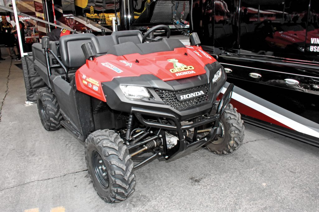 Cage fighters: Most SX/MX teams remove their UTVs' cage so that they'll take up less room in the semitrailer. The Geico/Factory Connection Honda team place ProTaper handlebar pads over the protruding ROPS posts for safety.