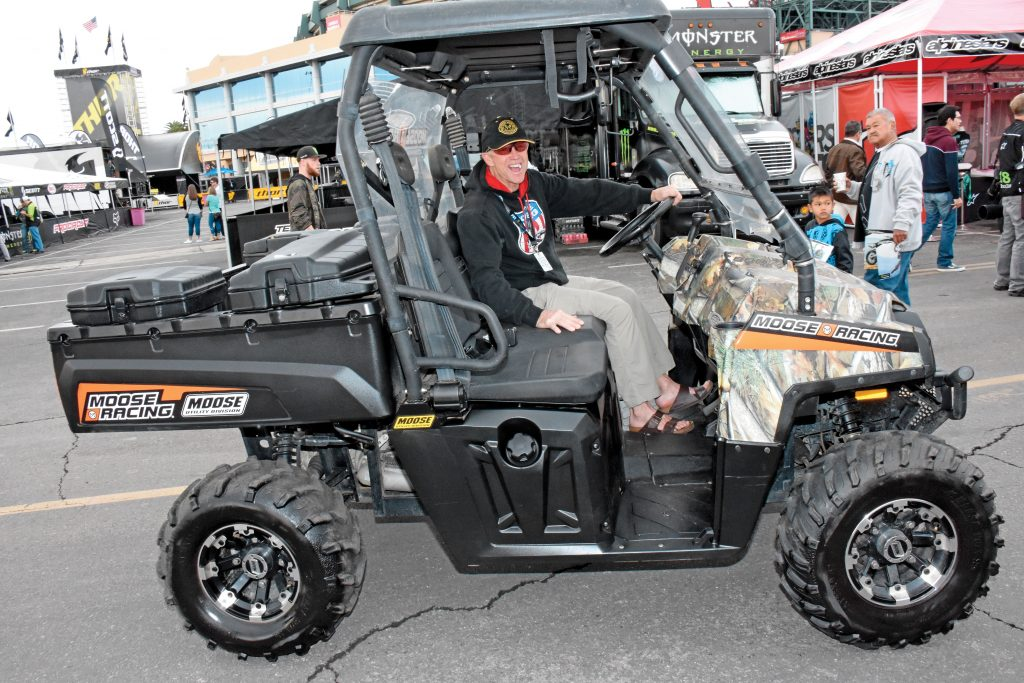 Moose Utilities Division: Moose Racing has a factory semi at each SX round that also displays the latest in MUD UTV products. Dick Burleson, eight-time national enduro champ and Moose product developer, is father to Jon-Erik Burleson, head of KTM North America.