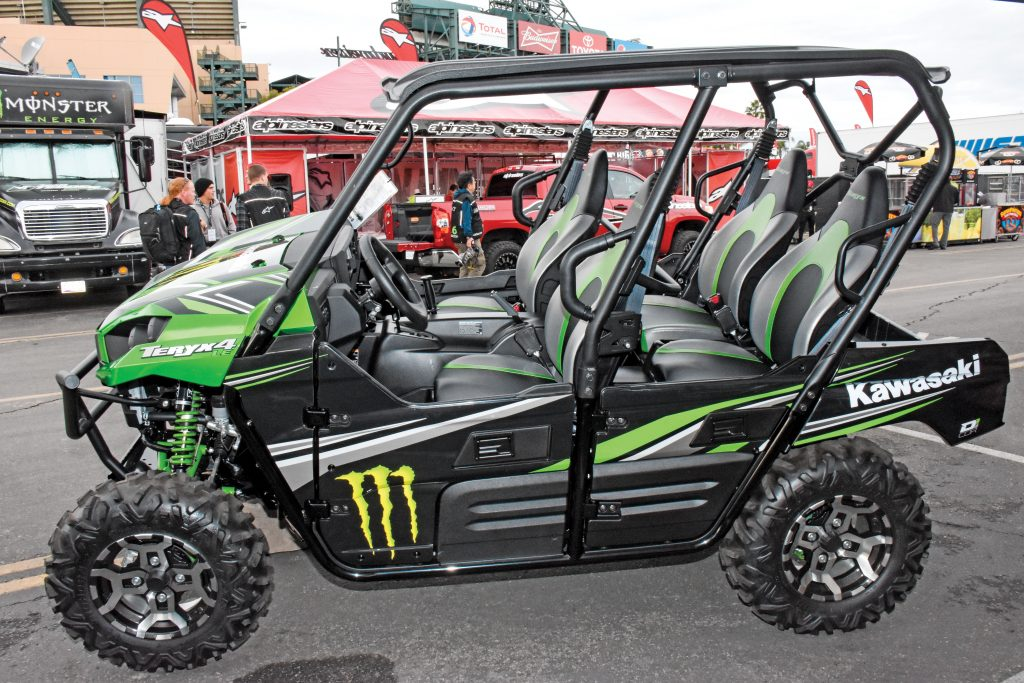 Team Green Teryx4: Kawasaki has a huge pit presence, complete with its entire line of dirt bikes and this monster Teryx4 Limited Edition.