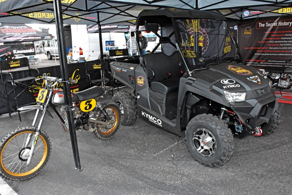 Legends & Heroes: Kymco sponsors the Legends & Heroes vintage bike museum, and Kymco's UXV450i is part of the L&H display when not being used to ferry VIP and cargo to the Fun Zone.