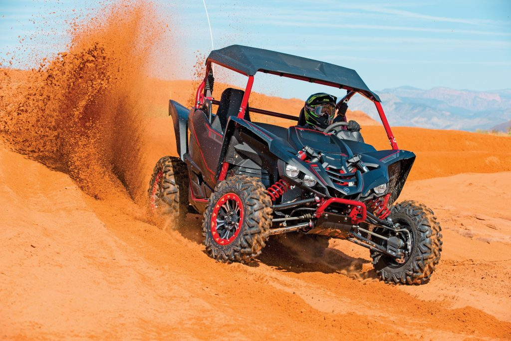 Paddle shifters are a blast in dunes, and the mile-wide rev range lets you wind out each gear or cruise in SE comfort. The Fox X2 shocks can be adjusted for deep sand whoops or comfort on wheel-hop chop or rocks.