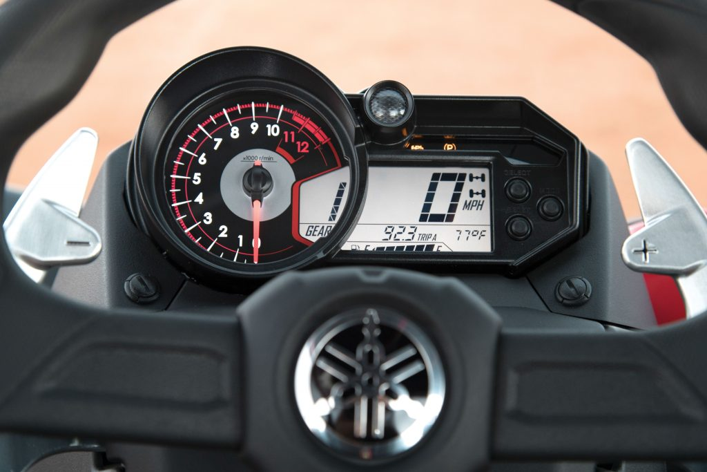The Sport Shift has a black-face analog speedometer, and the YXZ1000R SS is happiest between 5000 and 10,500 rpm. Temperature icons are new for 2017 on the YXZ1000R and SS, and the shift warning light is fully adjustable.