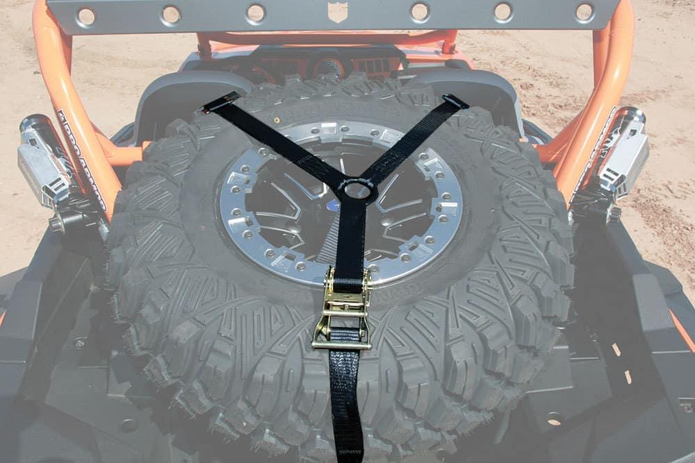 Spare Wheel Carrier Straps double Aluminium Inc